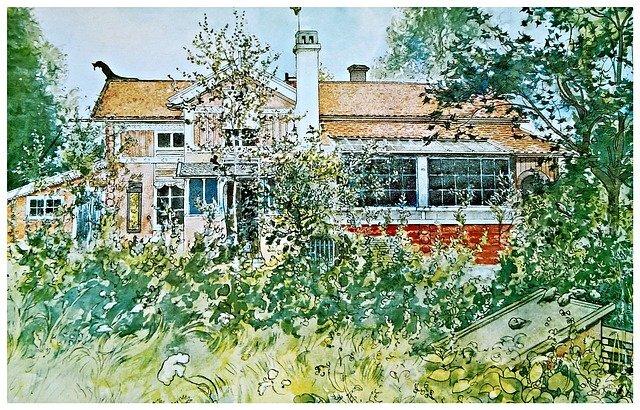 kresba domu se stromy