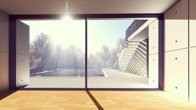 Veľké sklá, bazén, slnko